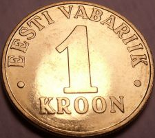 Buy Gem Unc Estonia 2000 1 Kroon~Three Leopards's Stacked Up~Excellent~Free Shipping
