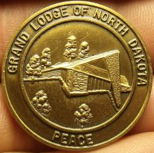 Buy Large 32mm Solid Bronze Grand Lodge Of North Dakota Bi-Centennial Medallion~Fr/S