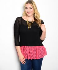 Buy Moa Black 3/4 Sleeves Scoop Neck Pink Lace Bottom Sweater Size 1XL-3XL