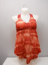 Buy SIZE XL Women's Empire Cami NO BOUNDARIES Red Tie Dye Sleeveless Crocheted Lace
