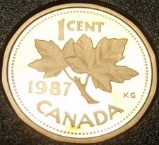 Buy Cameo Proof Canada 1987 Maple Leaf Cent~179,004 Minted~Free Shipping