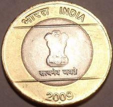 Buy Large Unc India Bi-Metal 2009 10 Rupees~Ashoka Column~We Have Unc India Coins~FS