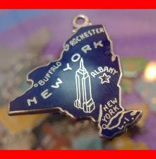 Buy vintage BLUE ENAMEL TRAVEL SOUVENIR MAP CHARM : CCC STERLING / APR 57 NEW YORK