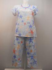 Buy SIZE L Women 2PC Knit PJs Set SECRET TREASURES Blue Stars Short Sleeve Crop Pant