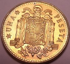 Buy Gem Unc Spain 1975(80) 1 Peseta~Eagle Flanked by Pillars with Banner~Free Ship