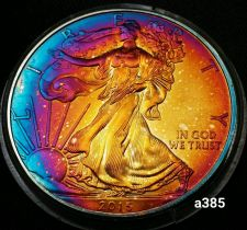 Buy 2015 Rainbow Toned Silver American Eagle Coin 1 ounce fine uncirculated #a385