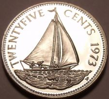 Buy Rare Proof Bahamas 1973 25 Cents~Bahamian Sloop~Only 35,000 Minted~Free Shipping