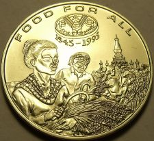 Buy Gem Unc Lao 1995 F.A.O. Issue 1,200 Kip~Incredible Details~Harvesting Rice~Fr/Sh