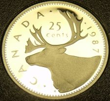 Buy Cameo Proof Canada 1987 25 Cents~179,004 Minted~Caribou~Free Shipping