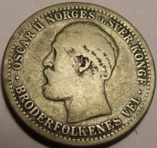 Buy Rare Silver Norway 1877 50 Ore~1st Year Ever~Free Shipping