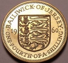 Buy Rare Proof Jersey 1966 Quarter Shilling~Only 30,000 Minted~Fantastic~Free Ship