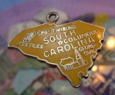 Buy vintage YELLOW ENAMEL TRAVEL SOUVENIR MAP CHARM : S. CAROLINA : F STERLING 24mm