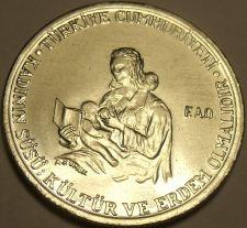Buy Rare Gem Unc Turkey 1976 FAO 5 Lira~17k Minted~ International Womans Year~Fr/Shi