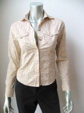 Buy Periscope NEW Junior Beige Stretch Cotton Long Sleeve Button Down Shirt Top S PR