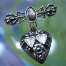 Buy PENDANT / BROOCH : vintage HEART CHATELAINE : sterling silver BOTH PIN and CHARM