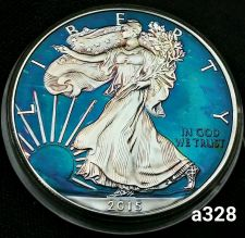 Buy 2015 Rainbow Toned Silver American Eagle 1 ounce fine silver uncirculated #a328