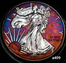 Buy 2016 Rainbow Toned Silver American Eagle 1 ounce fine silver uncirculated #a409