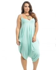 Buy Takuni Mint Draped Relaxed Fit Spaghetti Straps Harem Pants Jumpsuit One Size