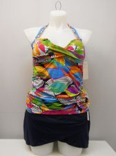 Buy Anne Cole Women's 2PC Tankini Plus Size 16W Twist Front Sarong Skirt Bottom Palm