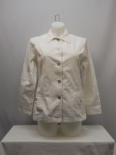 Buy SIZE L Womens Jean Jacket TUDOR COURT Solid White Long Sleeve Button Front