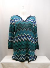 Buy Jones New York Sweater Size 2X Chevron Y-Neck 3/4 Sleeves Thin Knit Tunic Career