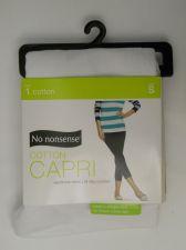 Buy SIZE S 4 6 Womens Cotton Capris Leggings NO NONSENSE Solid WHITE No Show Covera