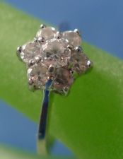 Buy sz 6.5 RING: sterling silver CZ Flower marked CC 925 ©
