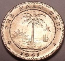 Buy Rare Gem Unc Liberia 1941 Half Cent~Elephant Coin~Last Year Ever Minted~Free Shi