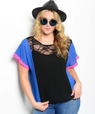 Buy PLUS SIZE 1XL 2XL 3XL Womens Sheer Color Blocked Top POINT Cap Sleeves Lace Yoke
