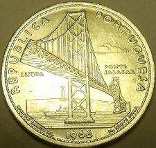 Buy Huge Unc Silver Portugal 1966 20 Escudos~Opening of Salazar Bridge~Fantastic~F/S