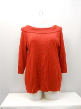 Buy PLUS SIZE 1X Women Sweater SAG HARBOR Solid Red 3/4 Sleeve Marilyn Neck Pullover
