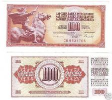 Buy YUGOSLAVIA 100 DINERA HIGH AWESOME NOTE<HORSE>FR/SHIP~