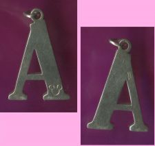 "Buy vintage DISNEY INITIAL CHARM or PENDANT : sterling 925 silver TALL INITIAL ""A"""