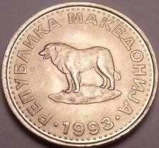 Buy Gem Unc Macedonia 1993 1 Denar~Sheep Dog~1st Year For Coinage~Free Shipping