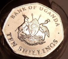 Buy Gem Unc Roll (20) Large Uganda 1987 10 Shillings Coin~Only Year Ever Minted~Fr/S