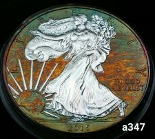 Buy 2015 Rainbow Toned Silver American Eagle 1 ounce fine silver uncirculated #a347