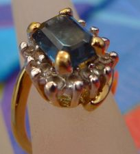 Buy sz 4.5 Gold Vermeil over Sterling Ring w/ Rhinestones & Sapphire Blue Gemstone
