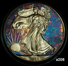 Buy 2015 Rainbow Toned Silver American Eagle 1 ounce fine silver uncirculated #a208