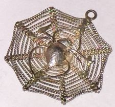 Buy vintage CHARM : SPIDER IN DETAILED FILIGREE WEB : STERLING 925 SILVER