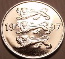 Buy Gem Unc Estonia 1997 20 Senti~3 Czech Lions Stacked On Each Other~Free Shipping