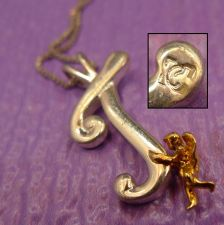 """Buy Signed Sterling Initial Pendant : Angel Holding Letter """" J Or T """" // 18"""" Chain"""