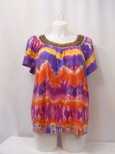 Buy Elementz Beaded Tie-Dyed Rainbow Color Scoop Neck Top Plus Size 1x 3x