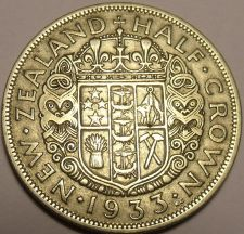 Buy Huge Silver New Zealand 1933 Half Crown~King George V~1st Year Ever~Free Ship