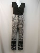 Buy NY Collection Animal Print Sleeveless Surplice Straight Legs Jumpsuit Size L