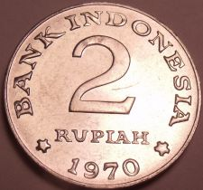 Buy Large Bu Indonesia 1970 2 Rupiah~Only Year~Rice And Cotton Stalks~Free Shipping