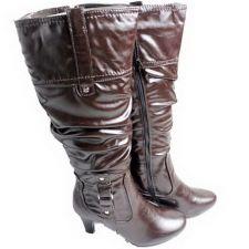 Buy Clara Barson Women's Boots Size 6-8.5 Brown Side Zipper Knee High Medium Width