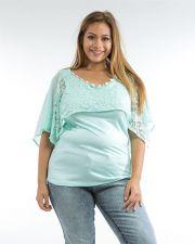 Buy Roman Mint Jeweled Lace Chiffon Overlay Sleeveless Knit Top Jr Plus Size 1X-3X