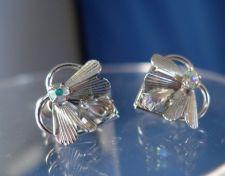Buy Vintage Screw Back Earrings : Sterling 925 Silver 2 Color Rhinestone Fly by TK