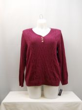 Buy Karen Scott Burgundy Long Sleeves Y-Neck Medium Cable Knit Sweater Size 0X