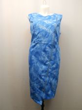 Buy PLUS SIZE 3X Sheath Dress MODAMIX Blue Front Zip Moto Sleeveless Asymmetrical